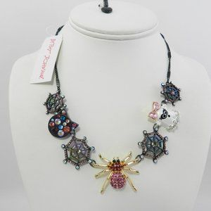 Betsey Johnson Black New Spider Web Cat & Ghost Necklace